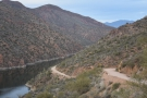 Back to the Apache Trail, where I was heading upstream, the road dropping...