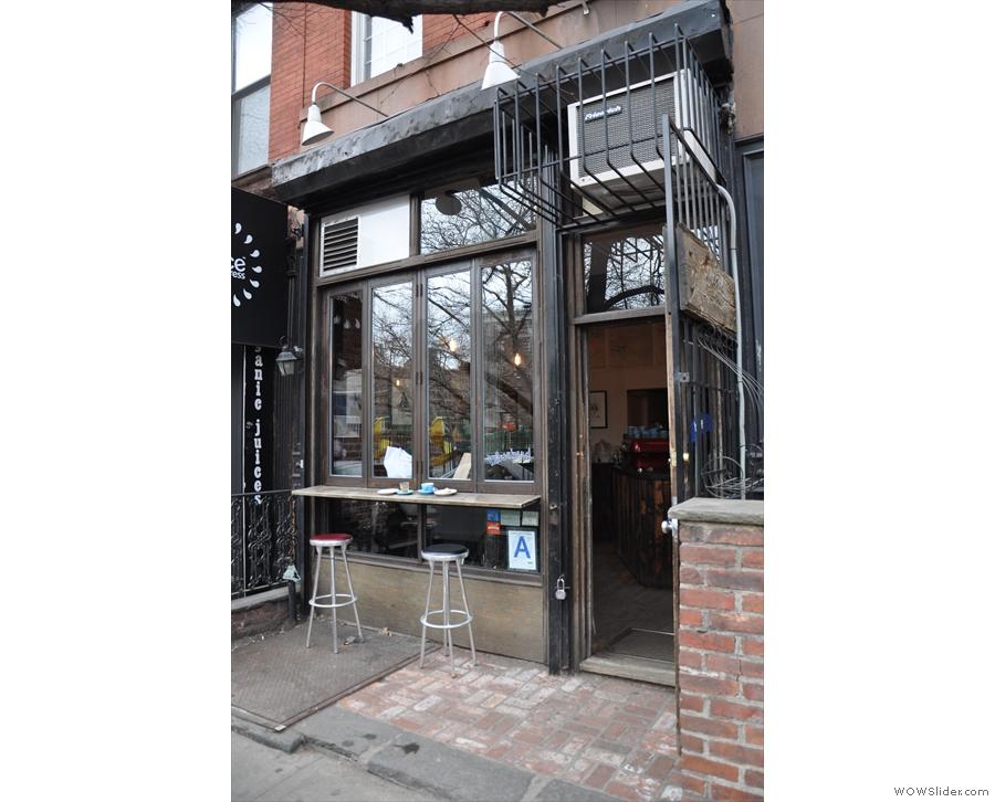 Bluebird Coffee Shop, as seen from the 1st Avenue side of 1st Street...