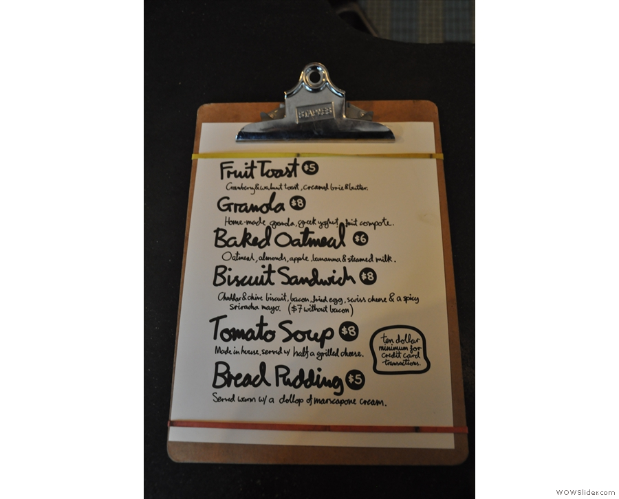 Talking of packing things in, Bluebird also has this food menu, served until three o'clock.