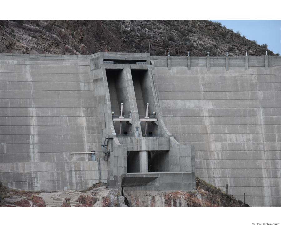 This is one of two massive sluice gates which can be used to control the water level.