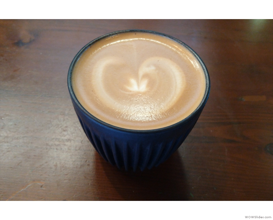 Here's a flat white from a recent visit, once again in my HuskeeCup.