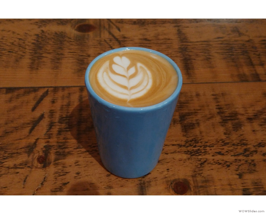 A flat white (what else?), this time in my Therma Cup.