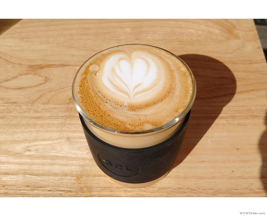 An excellent flat white from a recent visit, this time in my SoL Cup.