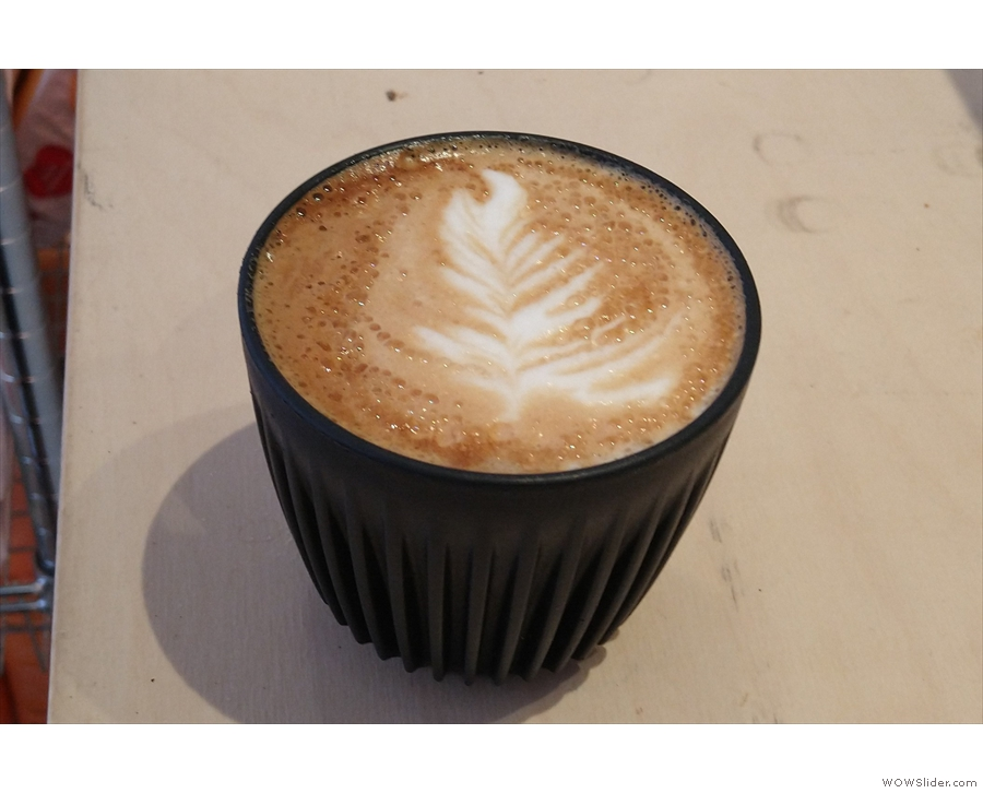 Another flat white from another recent visit, this time in my HuskeeCup.
