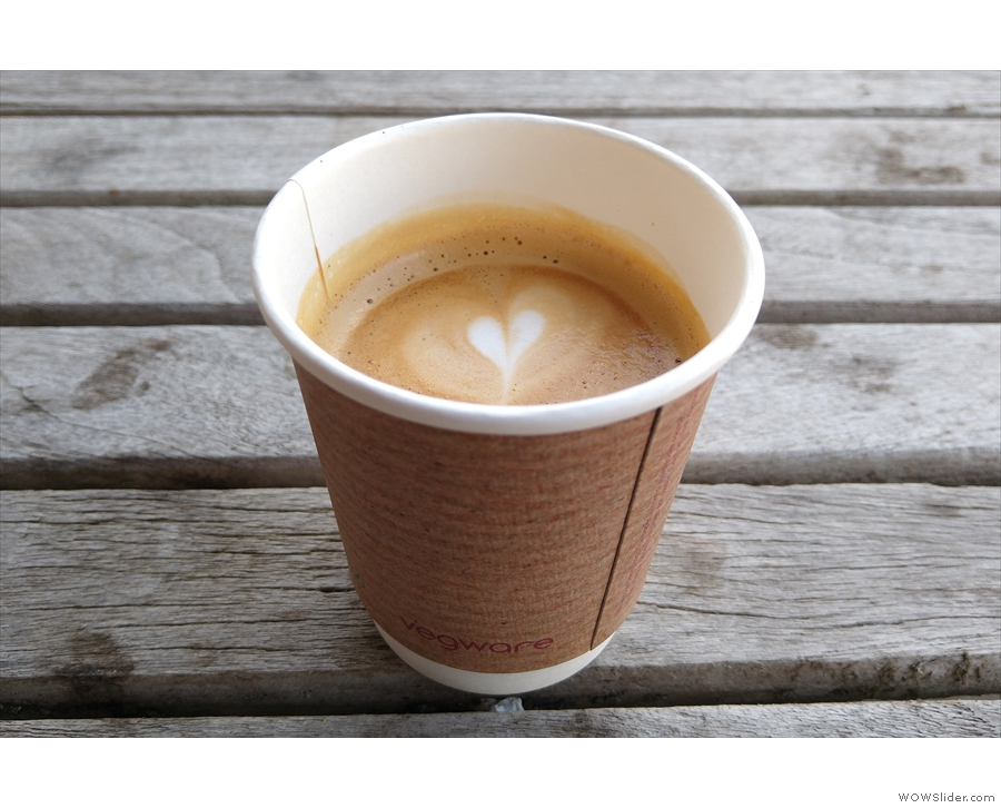 I ordered a flat white, which sadly had to be served in a disposable cup, although...