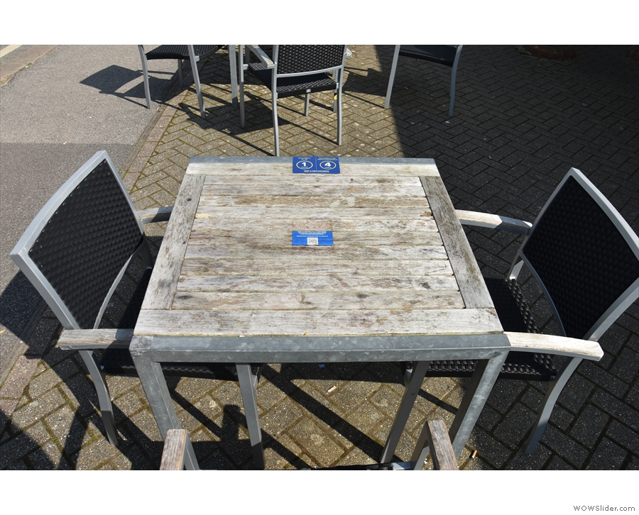 The tables, by the way, have some clear signs on them...