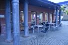 Previously, there were a couple of tables tucked under the awnings on the right...