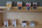 ... and hot chocolate and coffee kit (shelf on the wall beyond the counter).