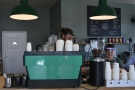 ... while the all important espresso machine is at the end of the counter on the left.