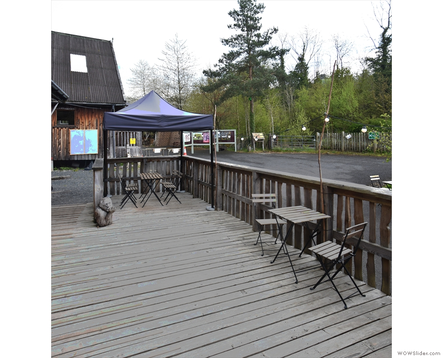 Either way, you'll end up at the patio at the back, where there's limited seating...