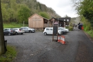 The approach to The Green Wood Café is through the car park...