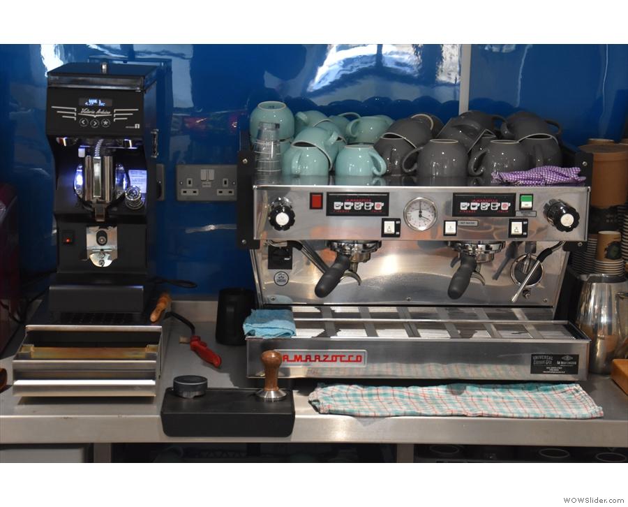 The all important La Marzocco Linea espresso machine, plus Mythos 1 grinder.