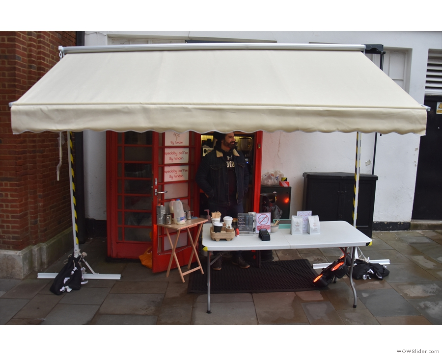 It's Lily London, tucked under this temporary awning by the Tunsgate Arch...