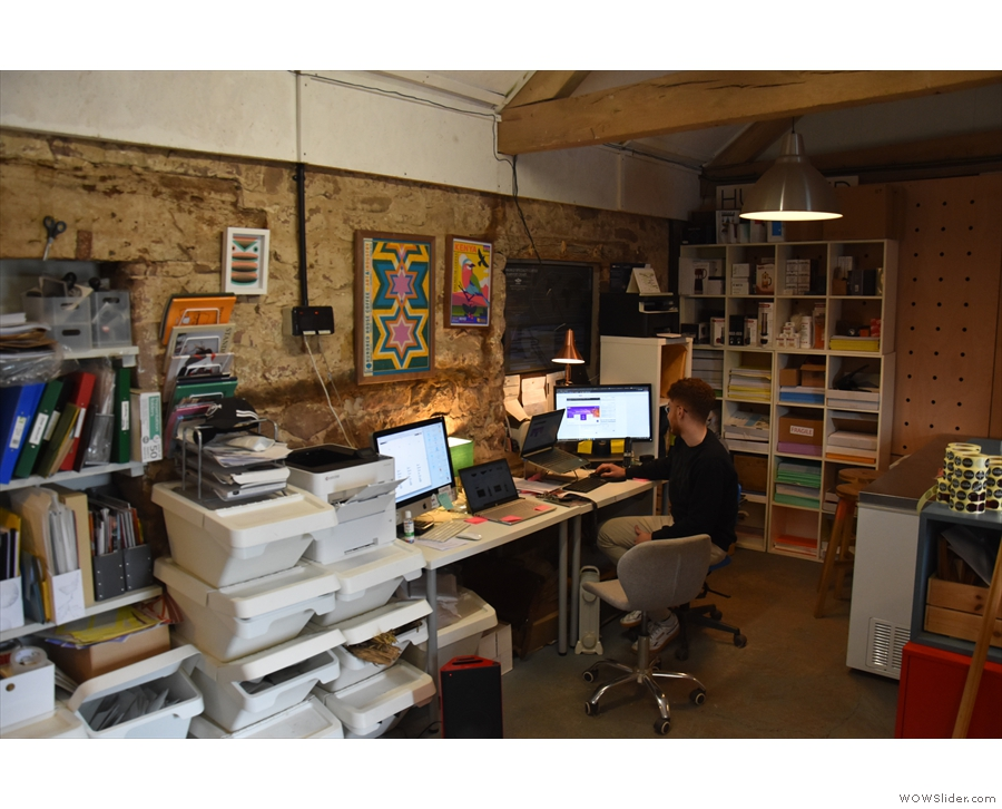 The other end of Hundred House is split into two, with the office on one side (+ Sami)...