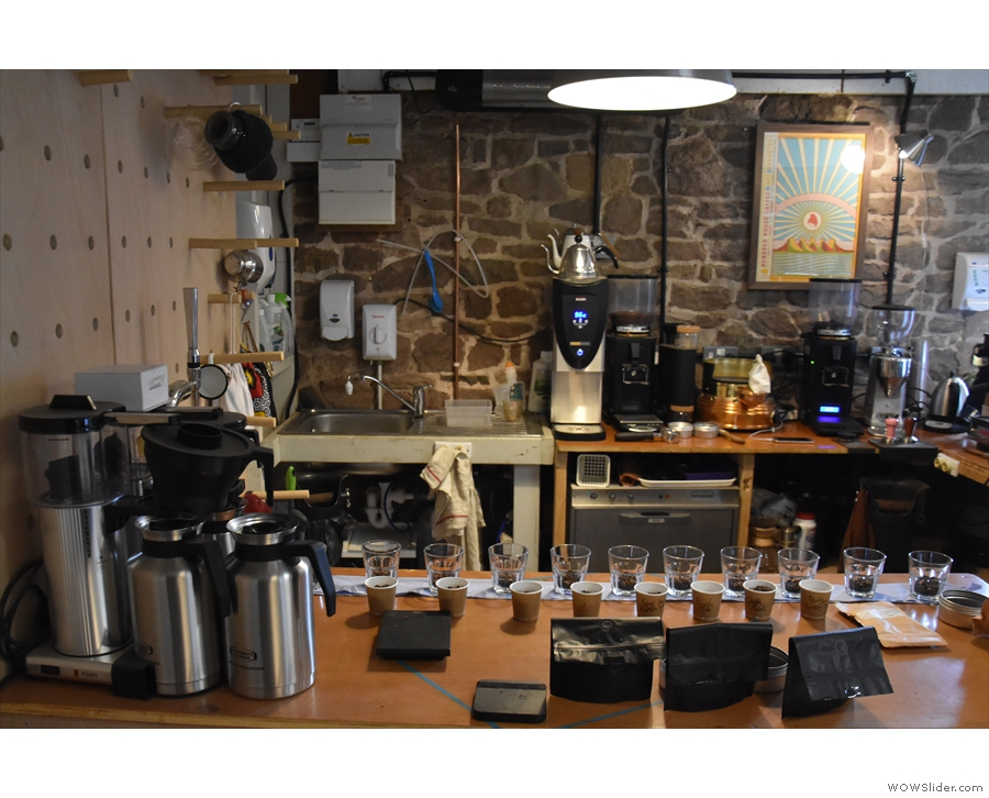 More grinders and brewing kit on the far side and, on the near side...