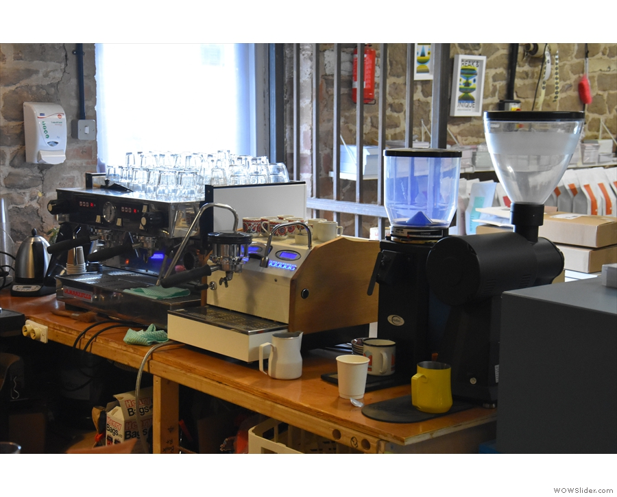 There's the usual line up of espresso machines and grinders...