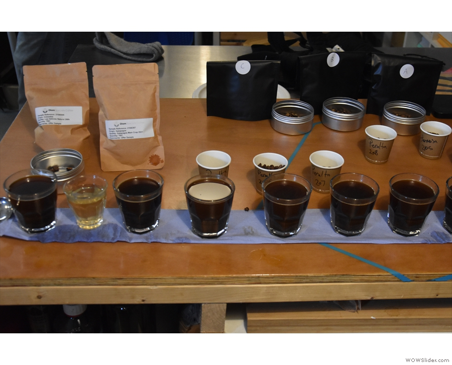 ... another staple of the coffee roastery: cupping!