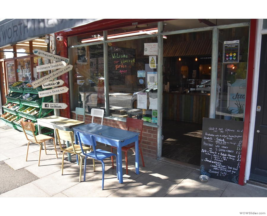 You can sit outside at one of these old school desks under the awning...