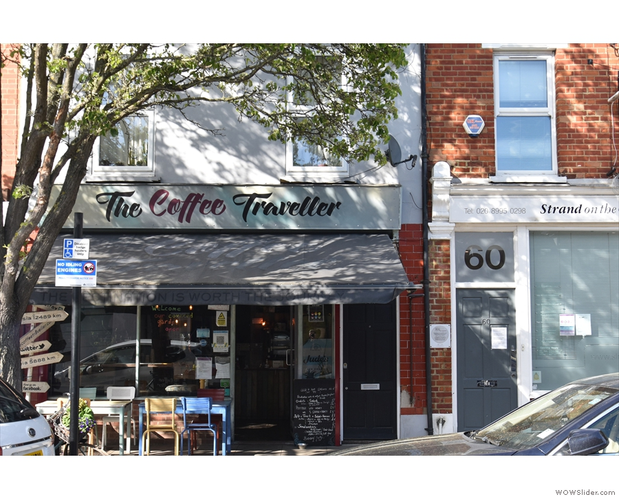 The Coffee Traveller, on the north side of Thames Road in Chiswick.