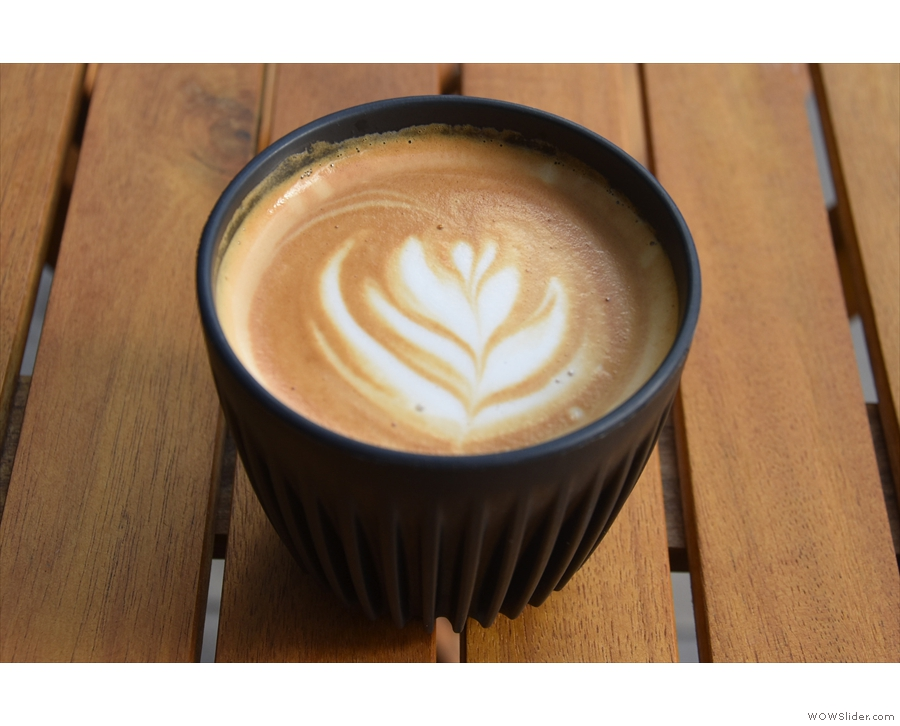 I tried it in a flat white in my HuskeeCup.