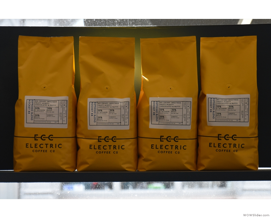 The coffee is Electric Coffee Co.'s own Rocket 88 blend, a mix of...