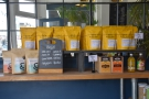 ... and bags of coffee, plus tea, on a bar at the front. The bar, by the way, continues...
