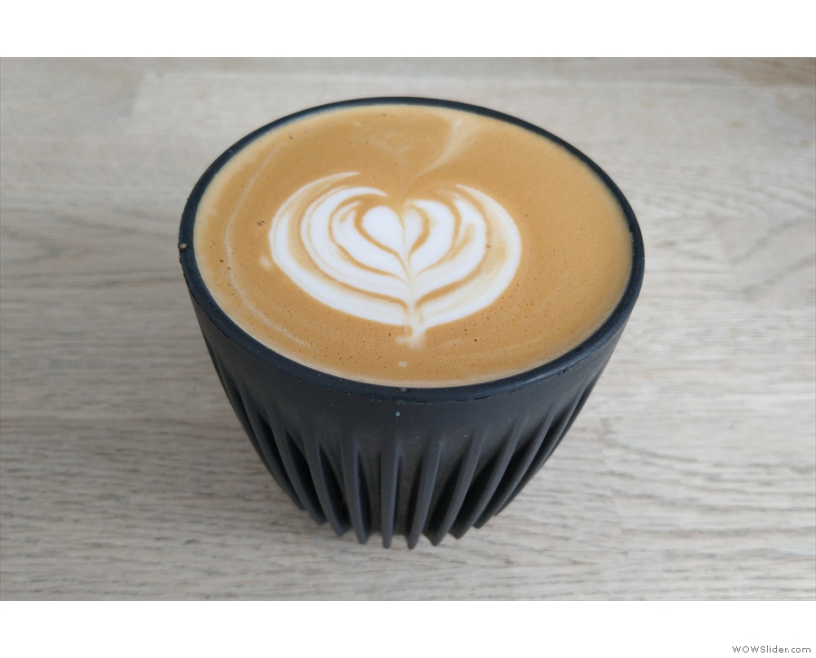 Talking of which, here's a decaf flat white that my barista made for me in my HuskeeCup.