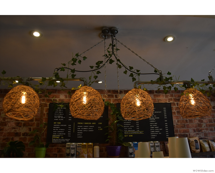 There are also lights, like these hanging above the counter...