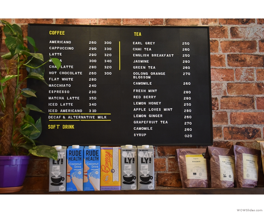 ... along with the menus, one for hot drinks...