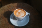 And here it is, basking in the morning sun... Glorious latte-art by Elysa.