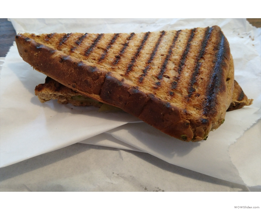 I also had a late lunch, taking the last vegan cheese and mushroom toastie.