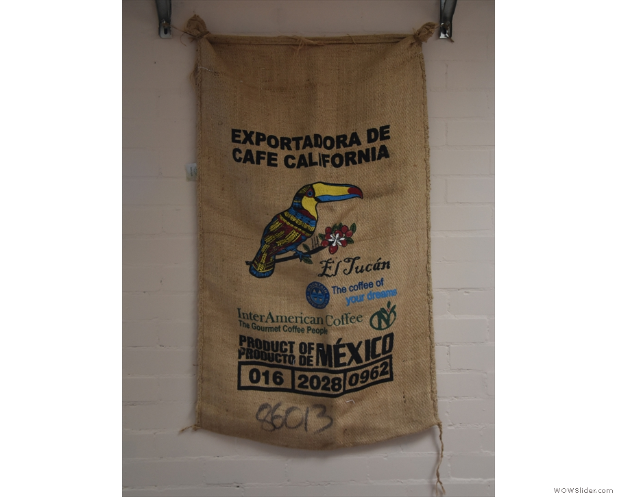 The walls, meanwhile, have coffee sacks for decoration...