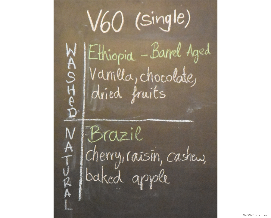 The V60 choices are right in the middle of the menu...
