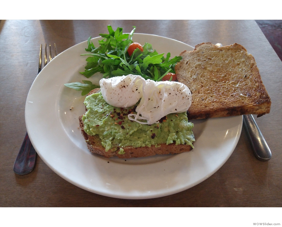 I was there for breakfast, having the poached eggs (with extra toast).