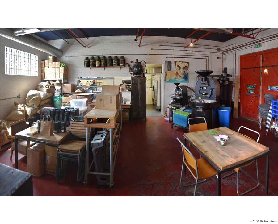 Finally, at the back is the roastery, with the kitchen (behind the wall) beyond that.