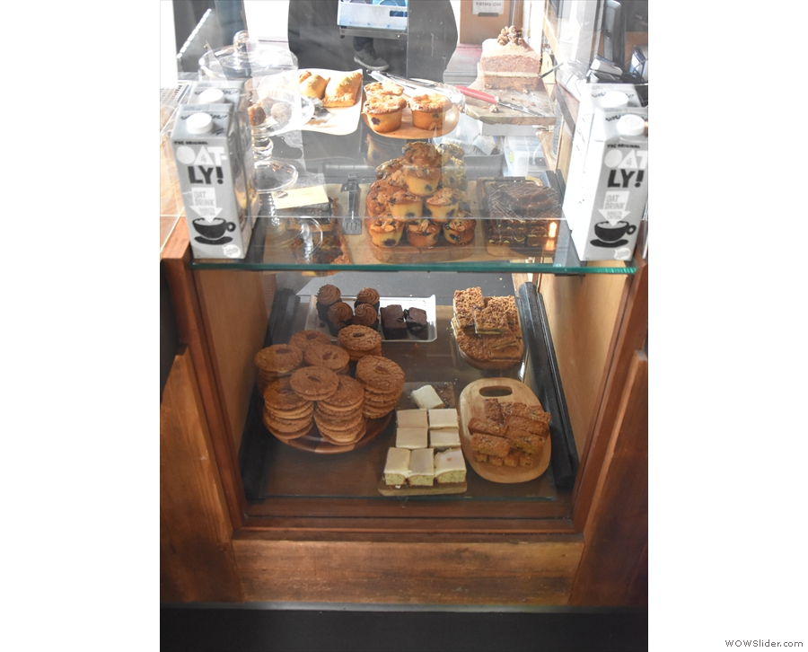 ... while to the right, there are cakes to tempt you. You order here...