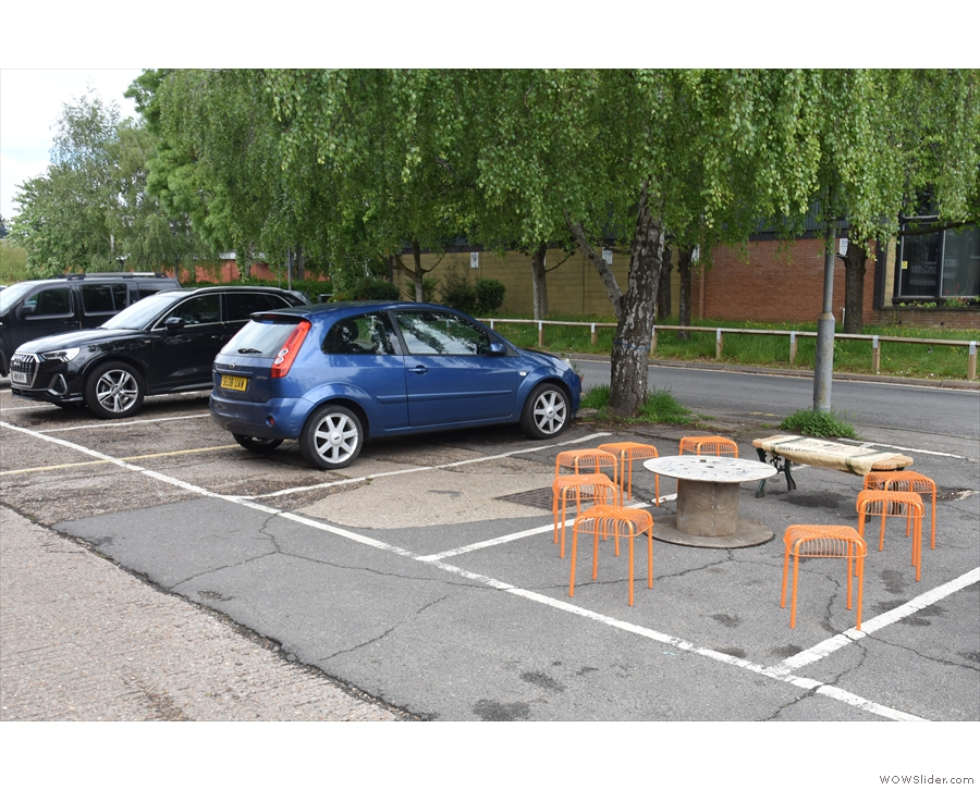 There's also seating out front, although it does cut down on the parking spaces.