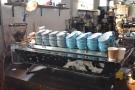 The Kees van der Westen Spirit espresso machine is on the left...