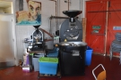 ... beyond which are the two Probat roasters (sample, left; production, right).