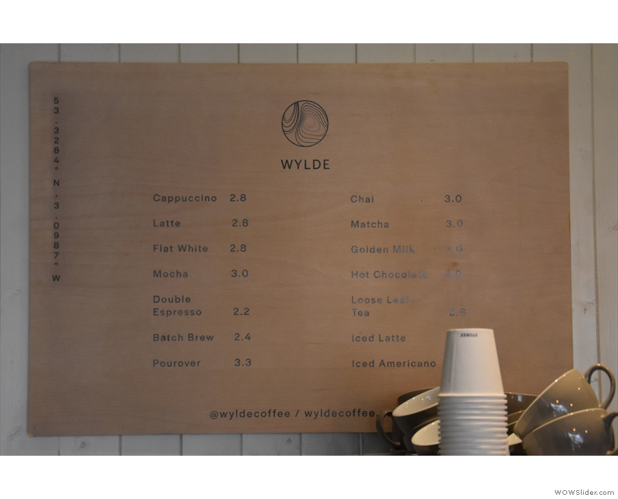 ... with the concise coffee menu above.