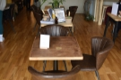 There are more tables running down the middle of Wylde Coffee, starting with this one...