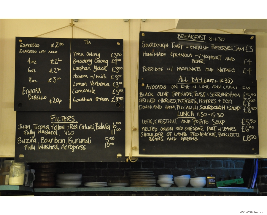 The menu, although if something's 'all day' saying 'until 15.30' kind of defeats the object!