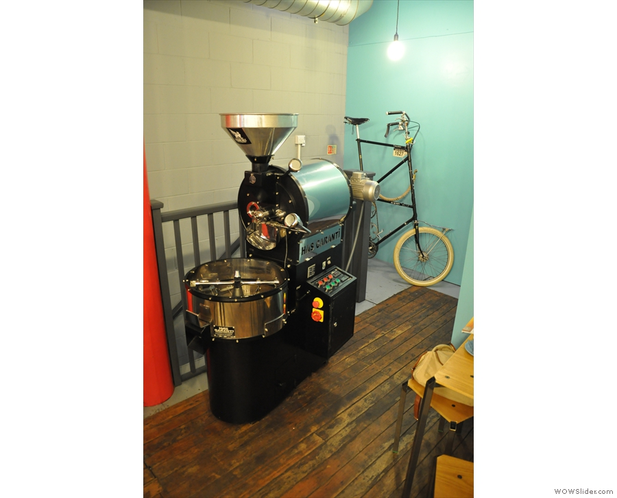 ... and what's that I spy by the back staircase? A little roaster & an interesting bicycle!