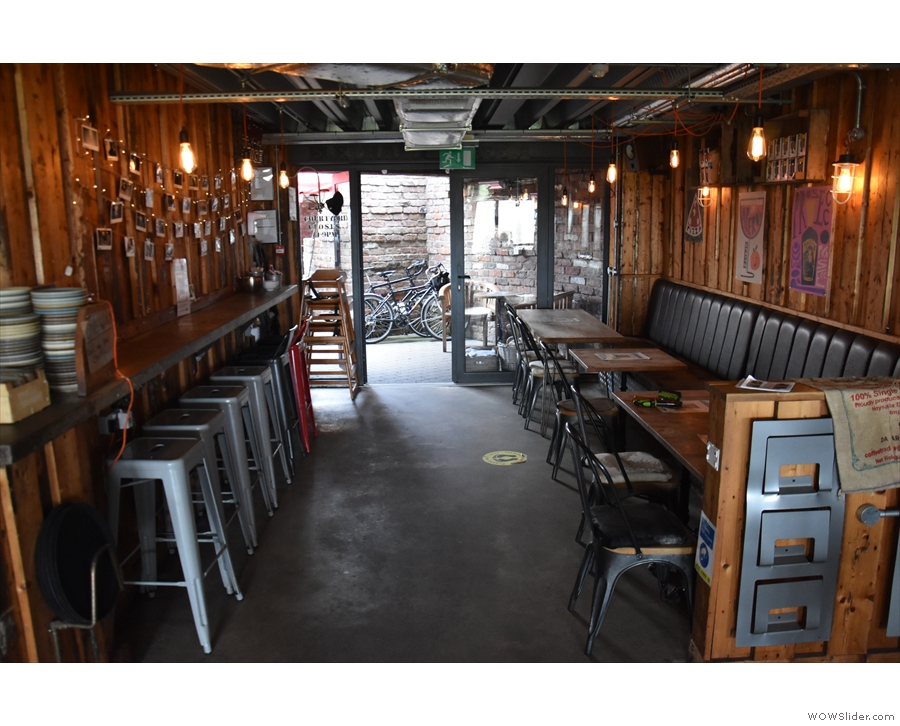 Turning around, a long, corridor-like space runs all the way to the back of Elephant Lounge.