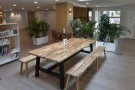 Beyond that is a large communal table, although for now its only for groups.