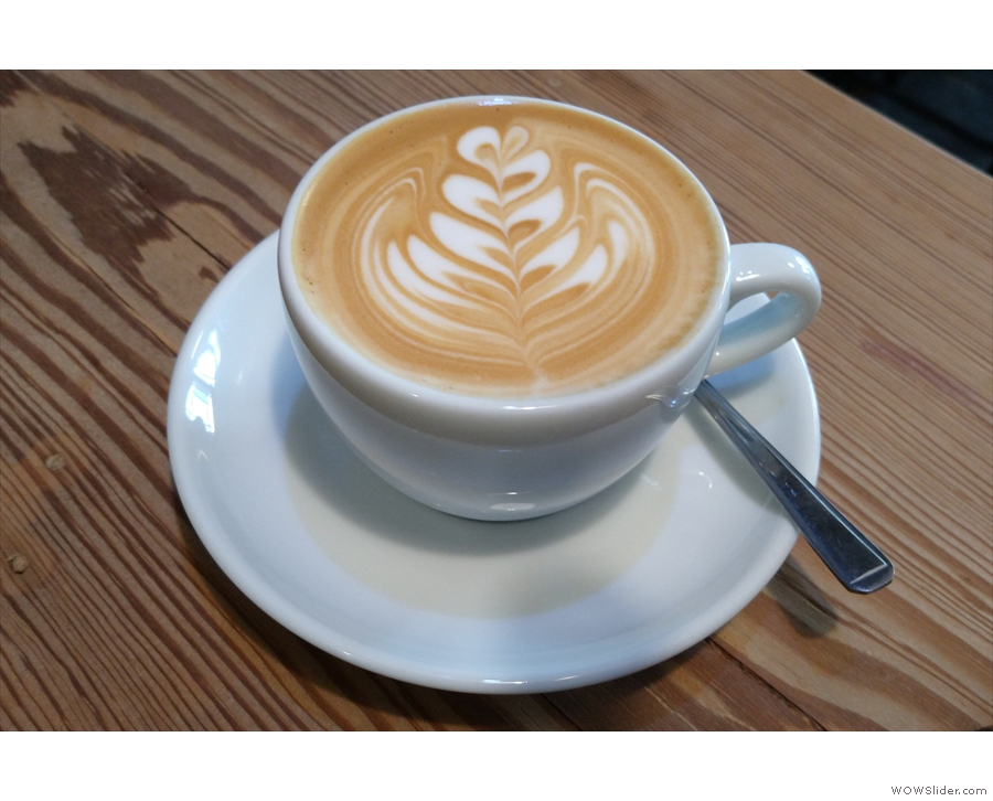 On my first visit, I had a flat white...