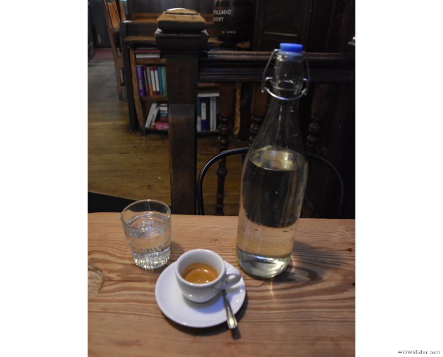 I returned the next morning to try the espresso on its own, served with a bottle of water.