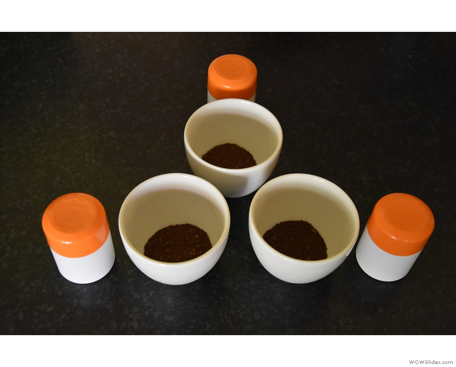 I then followed a standard cupping procedure, first coarsely grinding the coffee...
