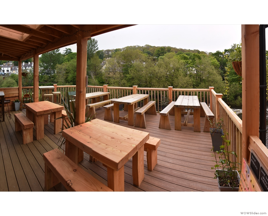 Keep going and you reach the best part: the wooden decking overlooking the River Dee!