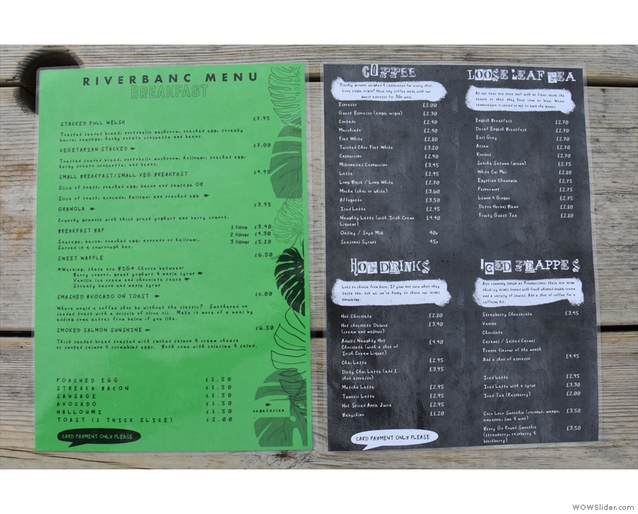 There's full table service (for now) so you also get menus at your table. The green menu...